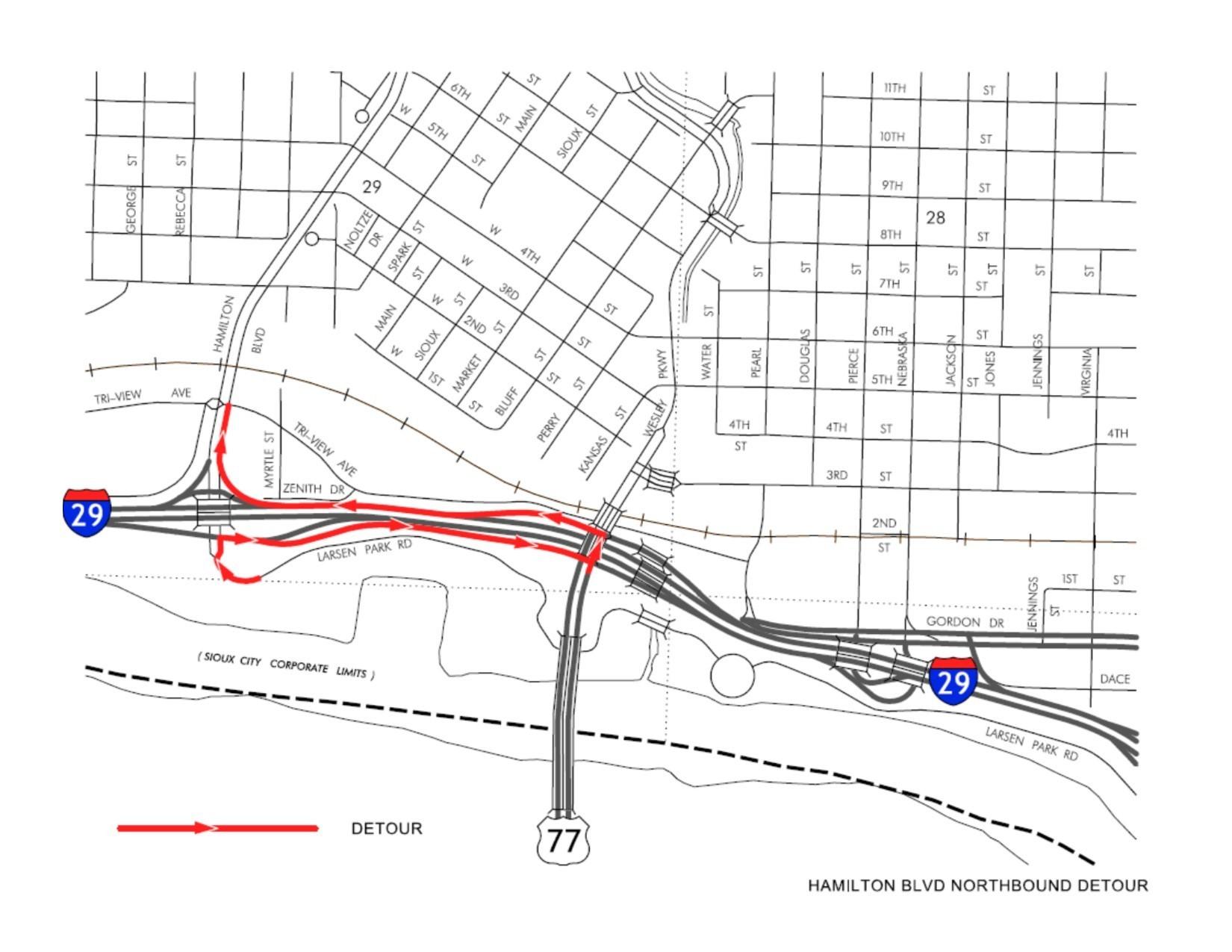 Hamilton Blvd Closure At I 29 News City Of Sioux City Website